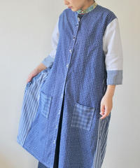 Blue & White yukata Long jacket style shirt dress (no.195)
