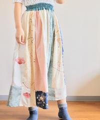 Spring kimono patchwork long skirt (no.290)