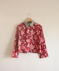 Dark Red&Pink flower x Green Kimono short Shirt (no.232)