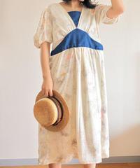 Handpainted Flower Kimono gather dress (no.323)