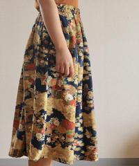 Dark blue x flower pattern Kimono Skirt (no.247)