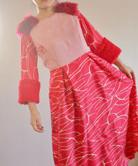 Red Boa&Fur Kimono psychedelic dress (no.253)