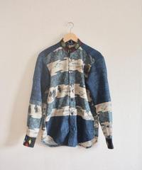 Japanese original scenery & Blue Kimono casual shirt (no.238)