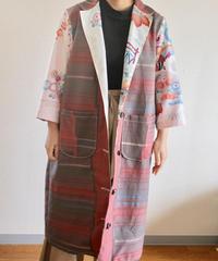 Pink&Grey x flower pattern Kimono Long Jacket (no.236)