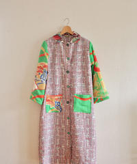 Furisode & Abstract pattern Pink Kimono Long Coat (no.222)