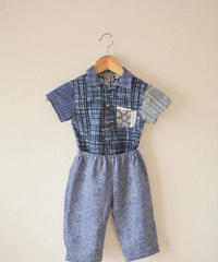 KIDS blue check yukata cool shirt&pants (no.207)
