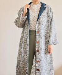 4pockets Light blue abstarct pattern Oversized Kimono Coat (no.234)