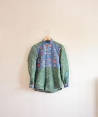 Men's green & retro Kimono casual shirt (no.289)