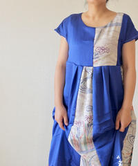Blue&flower pattern Kimono one-piece dress (no.189)