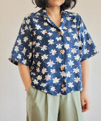 Silk Kimono half sleeves Blue Shirt (no.295)