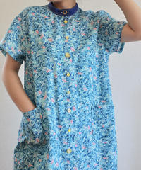 Light Blue leaf pattern Long shirt like dress (no.159)