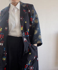 Japan x Poland Big buttons Black Kasuri Long Jacket (no.183)