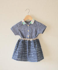 KIDS retro flower collar yukata Shirt& Skirt (no.213)