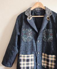Shogi x Check patterns & Dark blue Kimono Long Coat (no.235)