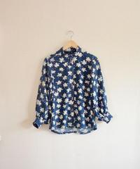 Navy Blue Silk Kimono Shirt (no.294)