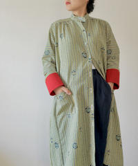 Green Stripe Kimono Long dress Jacket (No.197)