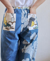 Blue yukata summer casual room pants (no.162)