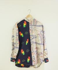 Men's Iris & Kasuri Kimono shirt (no.181)