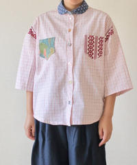 Pink check cotton Yukata shirt (no.190)