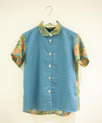 Light blue x Leaf pattern Kimono half sleeve shirt (no.175)