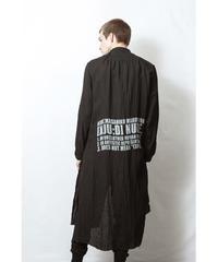 NU-1402 Linen/Ramie Reversible Long Shirt - BLACK