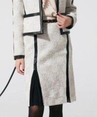 LINTONツイードxレザー スカート 193-13041