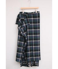 check scarf wide pants