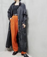 Snap Button Nylon Coat BK