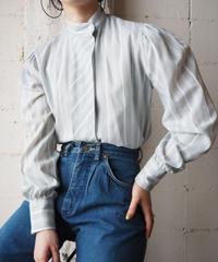 Stand Collar Stripe Blouse LGNWH
