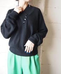 Asymmetric Neck Design Sweater BK