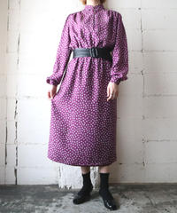 Small Pattern Stand Collar Dress PUR