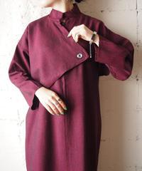 Stand Collar Asymmetric Design Dress BUR
