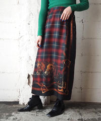 Side Button Horse Check Skirt REGN