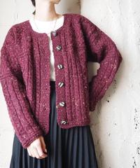 Mix Color Cable Knit Cardigan BUR