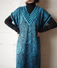 Vneck Pattern Knit Dress BLBK