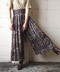 Paisley Pattern Gaucho Pants PUR PI BL