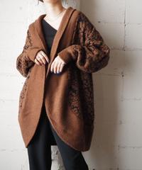 Shawl Collar Pattern Knit Robe BR