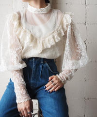 Lace Frill Back Button Brouse WH