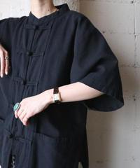 Short Sleeve China Shirt Jacket  BK