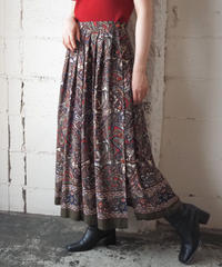 Paisley Side Button Flared Skirt KARE