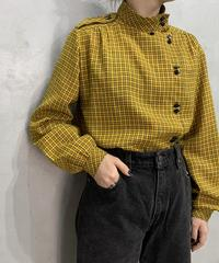 Stand Collar Check Design Blouse YEBK