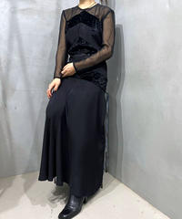 See through Velour Swiching Dress BK