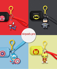 アメコミキャラクター AirPodsケースカバー AirPodsPro世代専用充電ケースカバー マーベル・DC保護ケース キーホルダー付 フェイスデザイン シリコーンケース