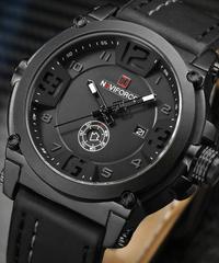 【全4色】 NAVIFORCEミリタリースポーツクォーツ男性時計レザー防水男性腕時計