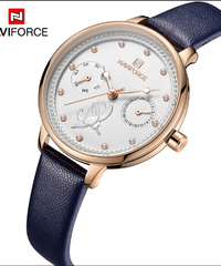 【全6色】 NAVIFORCE女性腕時計ファッションクォーツレディ革時計バンドデート週間カジュアル防水腕時計