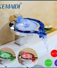 KEMAIDI 浴室の蛇口真鍮クローム滝浴室の洗面台の3色変蛇口