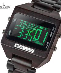 BOBO BIRD 4 色可変 LED デジタル腕時計クロノグラフストップウォッチ木製クロックウォッチ