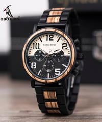 BOBO BIRD ウッドステンレススチールウォッチメンズ防水時計クロノグラフクォーツ腕時計