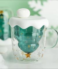 クリスマス2019 クリスマスツリー二重耐熱ガラスカップ 積雪密閉蓋付き 250㎖ 耐熱コップ ギフトにも!
