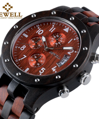BEWELL 木製クォーツ時計日本製ムーブメント日付表示防水クロノグラフスポーツ腕時計